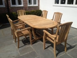 Teak Furniture Gallery - Chatham Double Leaf Ext Table open w- Westport Stacking Chairs set (CETS)