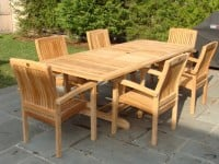 Teak Furniture Gallery - Nantucket Double Leaf Ext Table open w-Vineyard Stacking Arm Chairs set (NELS)