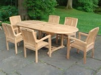 Teak Furniture Gallery - Oval Ext Table w-Vineyard Chairs set (OE71)