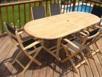 Teak Furniture Gallery - Oval Double Ext. Table w- Chatham Folding Chairs set (OE63)